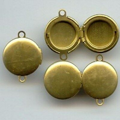 6 VINTAGE BRASS ROUND 13mm. TWO LOOP CONNECTOR PENDANT LOCKETS 5120