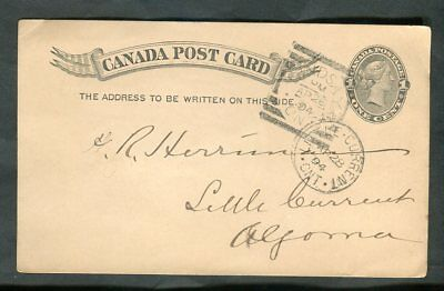 1894 Lindsay Victoria County Squared Circle Cancel to Little Current Algoma