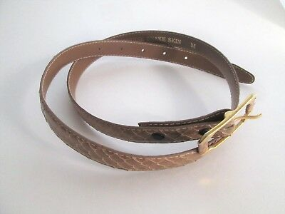 Womens Tan Snakeskin Belt Gold Plated Buckle 35 inch Length