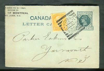 1897 St John NB Squared Circle Cancel Bank of Montreal Letter Card to Yarmouth