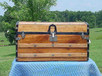 Antique Trunk  1877 Patent Date  As Much As 141 Years Old  Beautiful Restoration