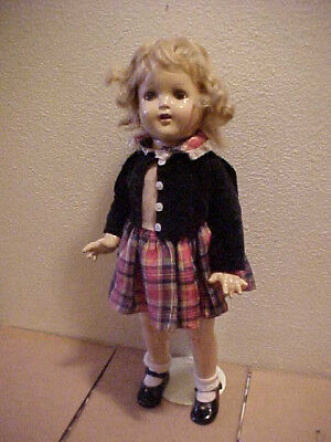 """19"""" Unmarked Compostition Doll Mohair  Beauty! Shirley Temple Look Alike Antique"""