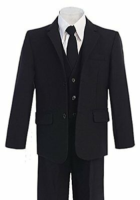 Boys husky suits s Formal Wear 5 Pc Wedding Black White Boy Size 8-20 Husky Kids