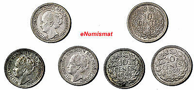 Netherlands Wilhelmina I  Silver  LOT OF 3 COINS 1939-1943 10 Cents  WWII KM#163