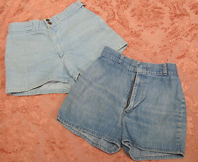 "LOT-2) Vtg 70s ""TAXI DRIVER"" Denim DAISY DUKE SHORTS & Bonus H.I.S. Denim Shorts"