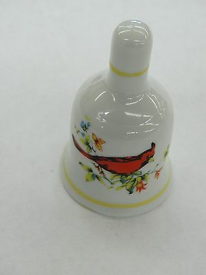 Vintage White Porcelain Ceramic Bell With Red Cardinal Bird and Flowers
