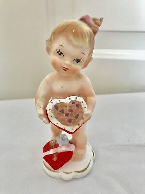 VINTAGE NAPCO WARE VALENTINES DAY FIGURINE Baby Girl Holding Open Box of Candy