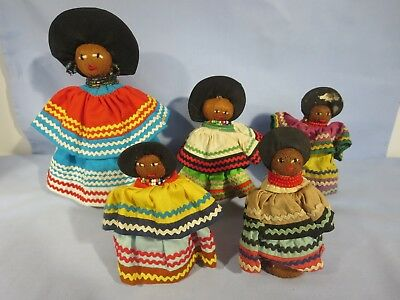 Lot (5) Vintage Handmade Seminole Indian Native American Dolls