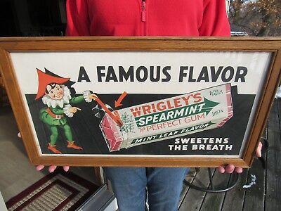 Vintage Original 1944 Wrigley's Spearmint Gum Trolly Car Card Sign Ext Rare