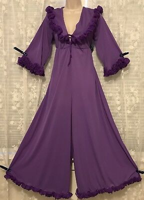 Vtg Frilly PURPLE Hostess Nylon Palazzo Pants Nightgown Gown Outfit Ruffles L