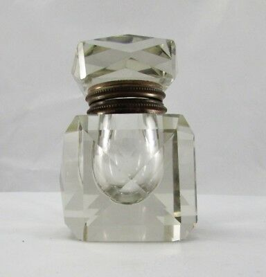 "Antique English Victorian Faceted Cut Crystal Inkwell 4.25"" x 3"" Heavy Crystal"