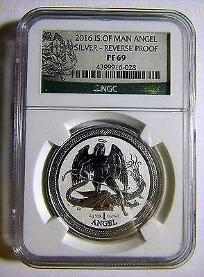2016 Isle of Man 1oz Reverse Proof Silver Angel NGC PF69, Only Year Minted !