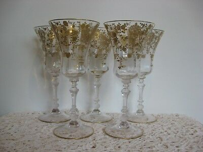 Cambridge Rose Point Gold Encrusted Water Goblets,Rare Vintage Group of 5