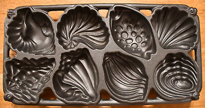 NEW Vintage 1989 John Wright Cast Iron Shell Muffin Pan Unused Gorgeous!