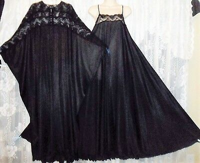 VTG LUCIE ANN GOTHIC Black Batwing FULL Peignoir Robe Nightgown Negligee Gown L+