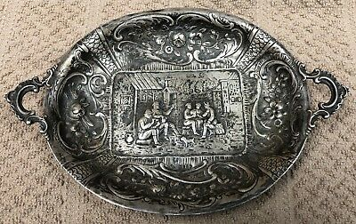 English Victorian Sterling Silver Handled Tray Plate by William Moering WM