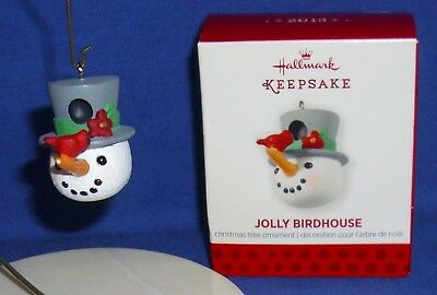 Hallmark Miniature Ornament Jolly Birdhouse 2013 Snowman Cardinal Bird Top Hat 1