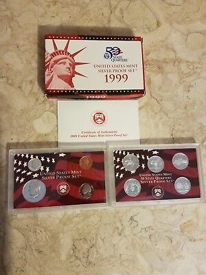 1999 S US Mint SILVER Proof 9 Coin Set w/ Box and COA 90% Silver United States