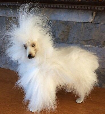 "White Dog Plush Jointed 6"" Tall Fluffy Hair Rare"