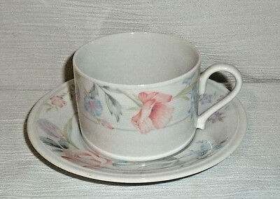 American Limoges Cup and Saucer FLOWERS Vtg Japan