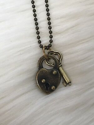 NEW Steampunk Small Heart Lock & Key Vintage Brass Chain Necklace Retro Gold