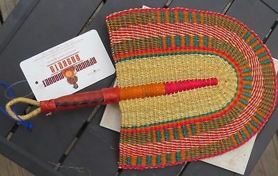 Fair Trade African Hand Woven Elephant Grass Fan with Leather Handle OG