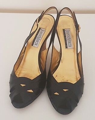 As New Jo Mercer Size 37.5 Ladies Made In Italy Black Leather Wedges