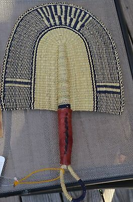 Fair Trade African Hand Woven Elephant Grass Fan with Leather Handle NN