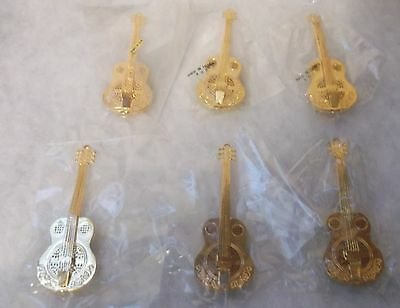 "Vintage Petites Choses Lot 6 Mini Brass Guitars 3.5"" New NIP Packaged"