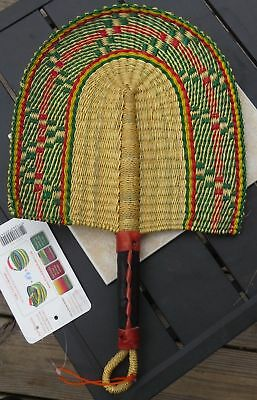 Fair Trade African Hand Woven Elephant Grass Fan with Leather Handle GN