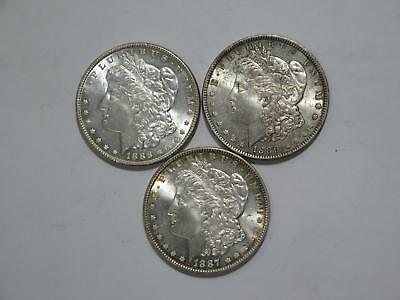 3- Morgan Dollars $1 90% Junk Silver Toned U.s. Mint Old Coin Collection Lot