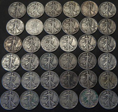 Walking Liberty Half Dollars 90% Silver - Lot of 36 Coins