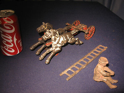 Vintage Antique Arcade Cast Iron Toy Fireman Ladder Horse Team Fixup 3 Pc Parts