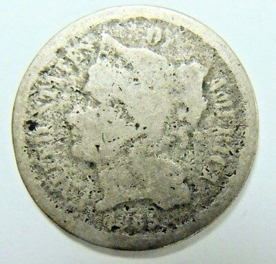 1865 Three Cent Nickel, Bargain Type Coin,  Free Shipping
