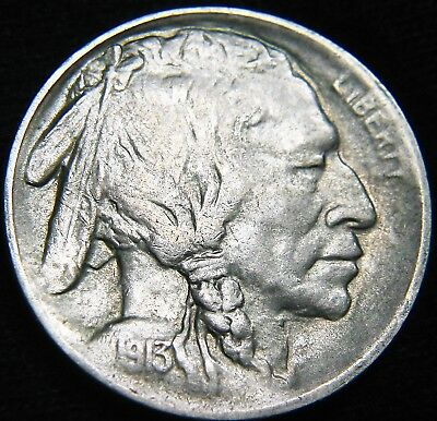 Key Date XF+ 1913-S Type 1 BUFFALO NICKEL 5¢ KEY Mound Variety 1 FREE S&H EK44NJ