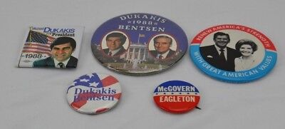 Lot of 5 Political Vintage Buttons Reagan Dukakis