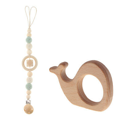 Baby Wooden Beads Pacifier Holder Clip Chain Nipple Teether Dummy Strap DIY