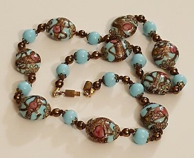 Vtg-Venetian-Murano-Art Glass Blue Wedding Cake Bead Knotted Necklace Pink Rose