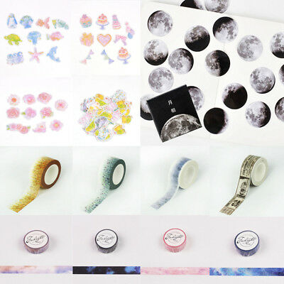 Scenery Galaxy Papers Scrapbook Sticky Adhesive Stickers Washi Tapes Hotstyle #