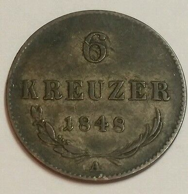 1848 Austria Silver 6 Kreuzer World Coin High Grade Free Shipping!