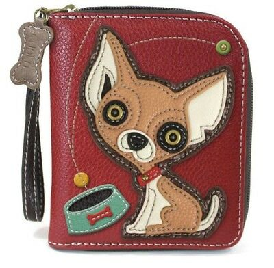 Charming Chala Playful Chihuahua Dog Purse Wallet Credit Cards Coins Wristlet