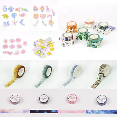 Multi-Colour Scenery Galaxy Papers Scrapbook Sticky Sticker Washi Tapes Decorate
