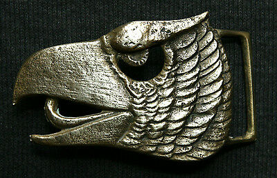 Vintage Beautiful Solid Brass Eagle Head Hand Made Belt Buckle
