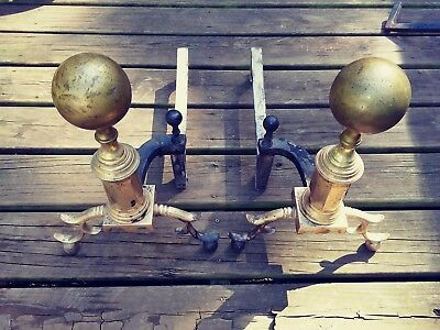 PAIR of EARLY 1800's LARGE BRASS BRONZE CANNON BALL ANDIRONS with Log Stops