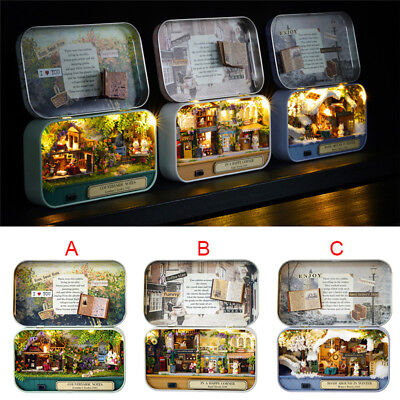 Mini DIY Music Dollhouse Miniature Doll House Furniture Kit LED Light Gifts FG