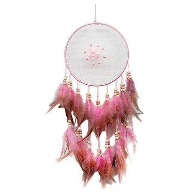 Pink Handmade Dream Catcher w/ Feathers for Wall Hanging Decoration Ornament
