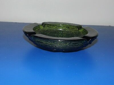Vintage Mid Century Round Green Colored Glass Heavy Collectible Ashtray