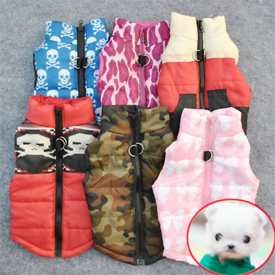 🇬🇧 XS-L Puppy Dog Cat Pet Warm Clothes Vest Harness Padded Coat Jacket Apparel