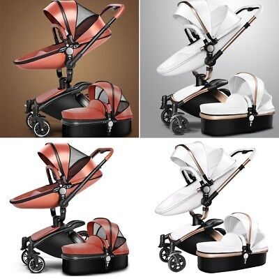 Stroller Pushchair in 2 Travel Foldable Pram Carriage Car Infant Leather 1 Baby