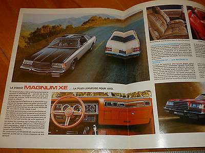 Magnum Xe Dodge 1979 Brochure Catalog Depliant French Vintage Dealer Sales